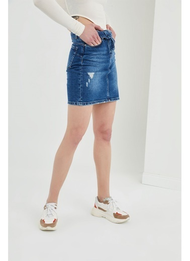 Z Giyim Yıpratmalı Mini Kot Etek Mavi